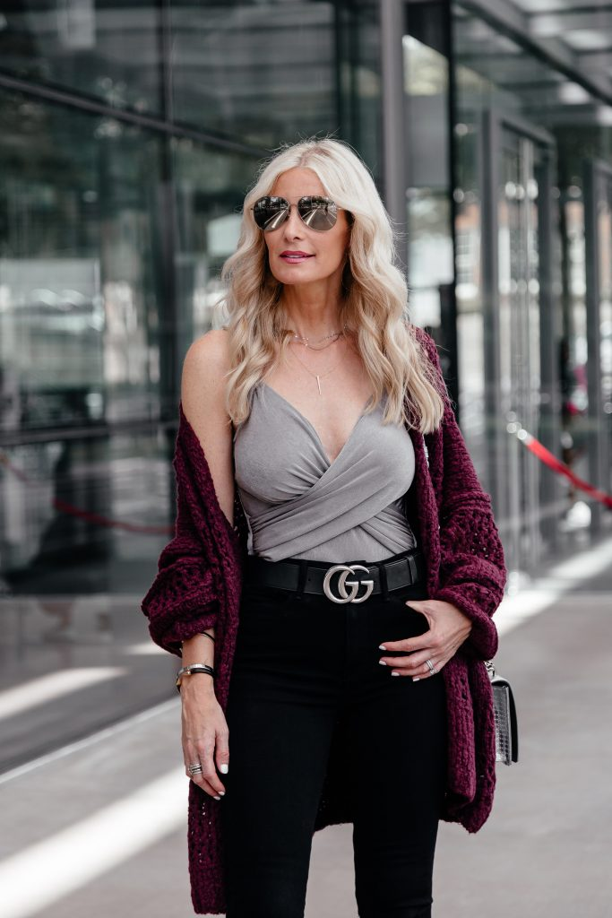 Dallas style blogger wearing bodysuit and cardigan