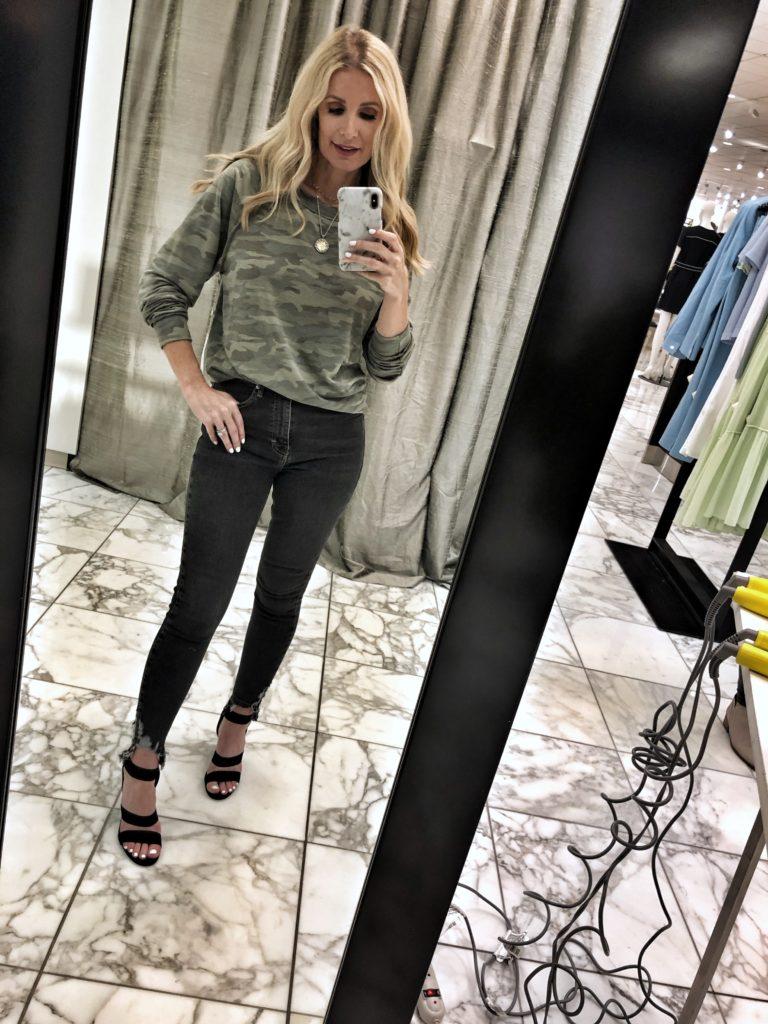 Dallas style blogger wearing a camo top
