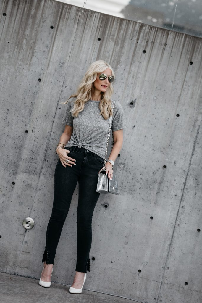 Topshop gray tee on Dallas blonde girl