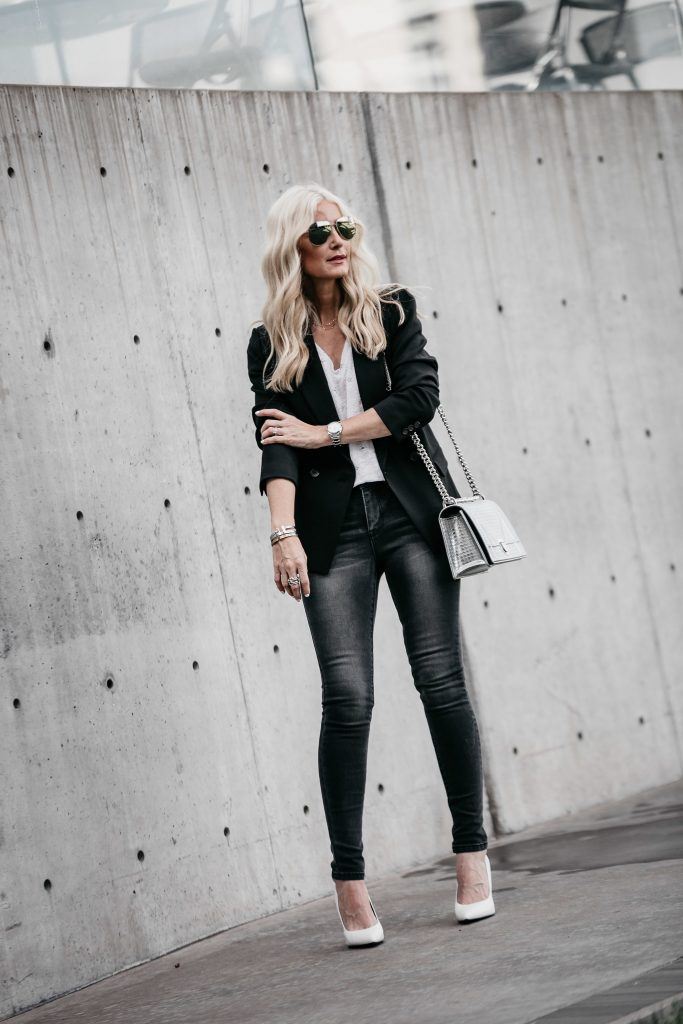 Black blazer, white tee, and jeans