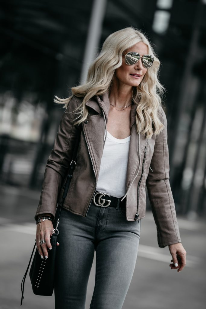 Dallas style blogger wearing hooded moto jacket