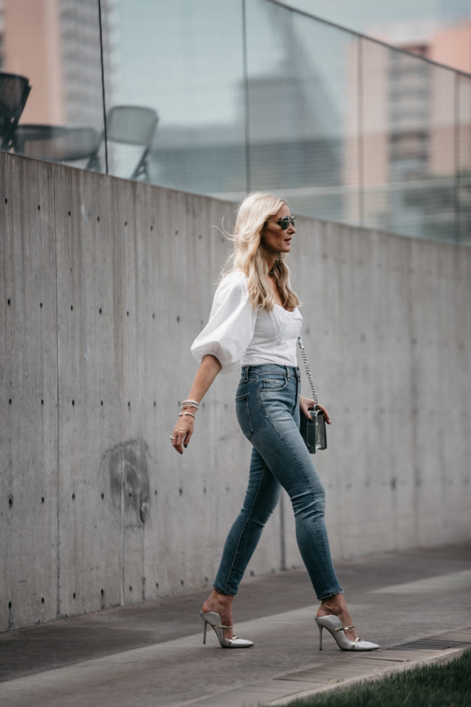 Dallas fashion blogger wearing Veronica Beard Jeans