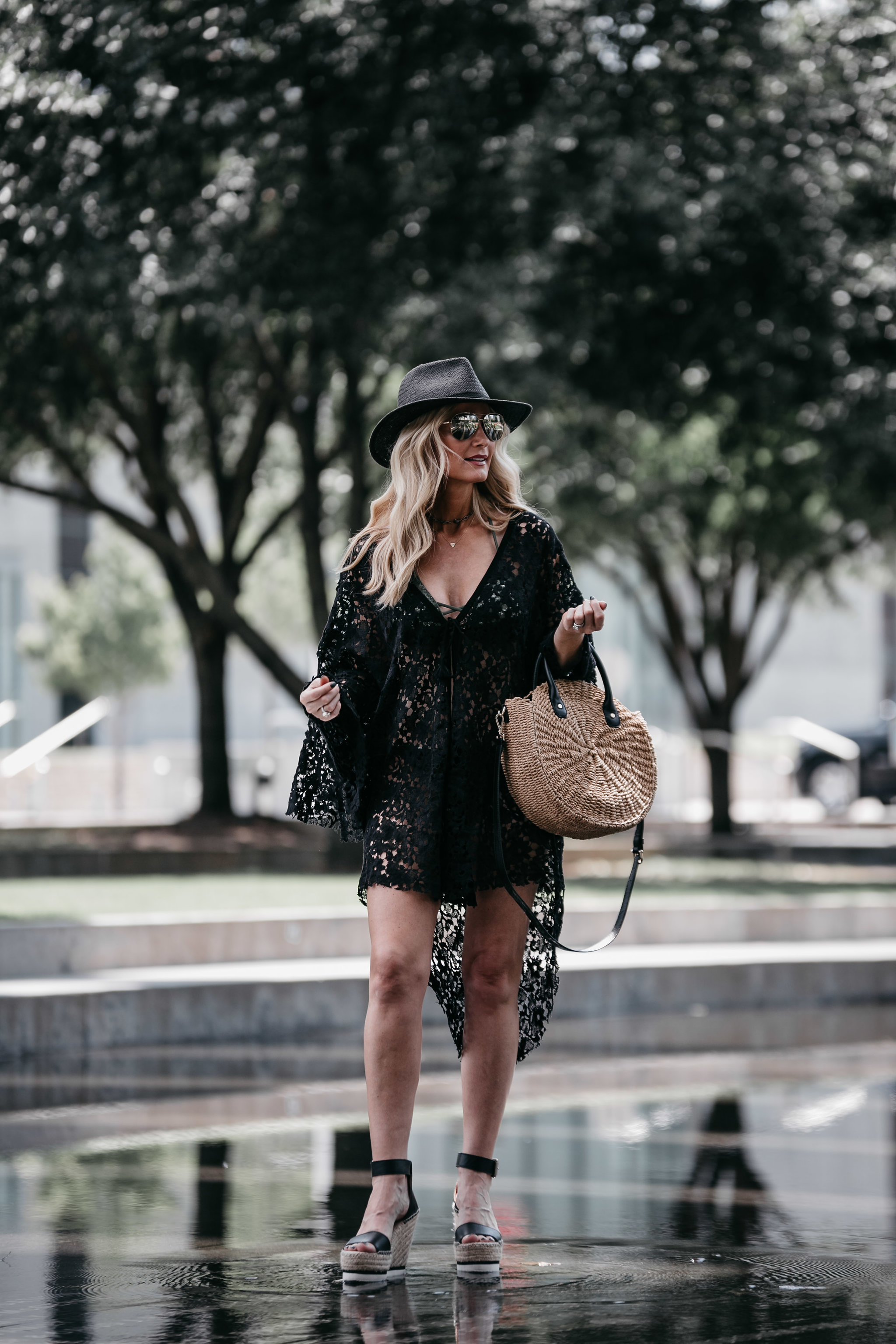 Black beach cover-up, black straw hat, wedges and woven bag