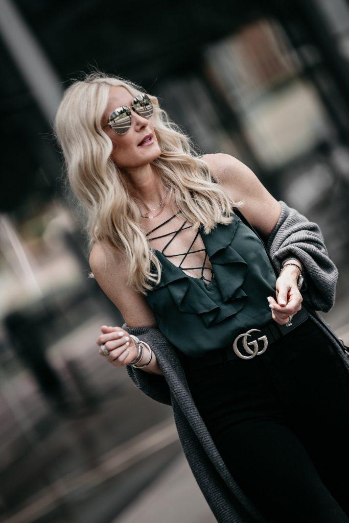Dallas fashion blogger wearing Gucci Belt and lace up tank