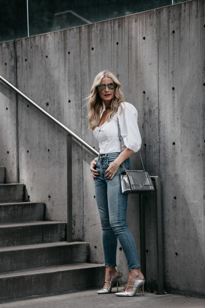 Dallas Blonde wearing Veronica Beard Jeans