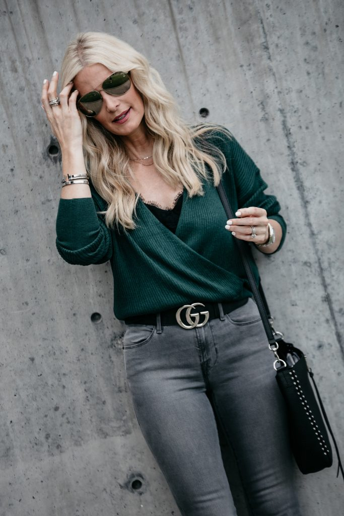 Wrap sweater, Gucci Belt, and Gray Skinny Jeans