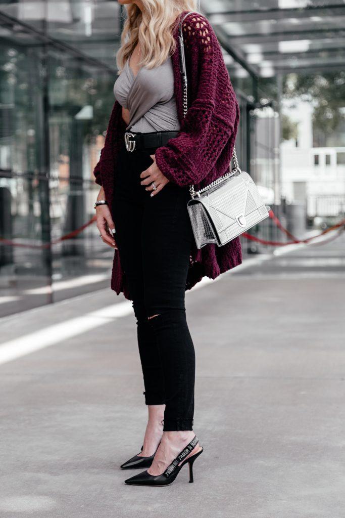 Black jeans, Gucci Belt, and Dior heels and handbag