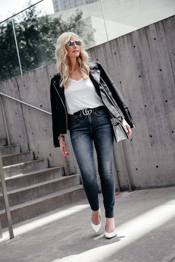 Dallas blonde girl wearing Good American Jeans and Blanknyc leather jacket