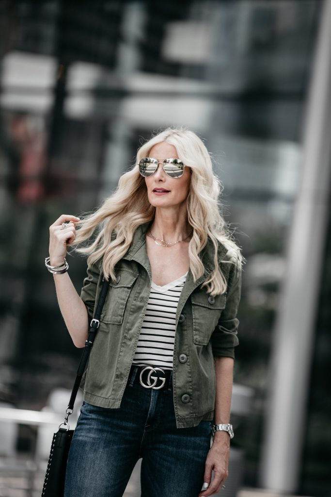 Madewell army jacket and striped tee