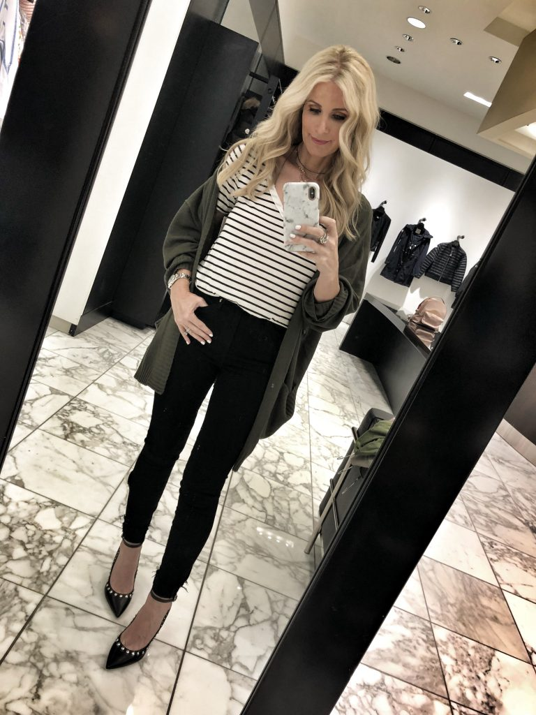 Nordstorm Anniversary sale cardigan and striped tee