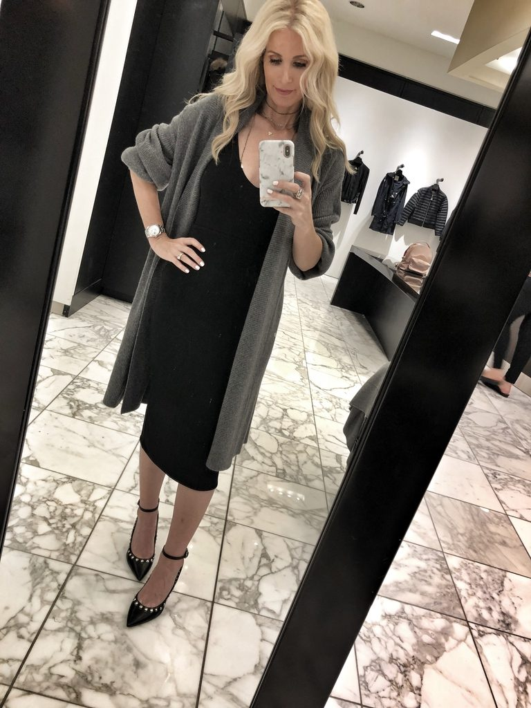Dallas blogger wearing black midi dress and gray cardigan
