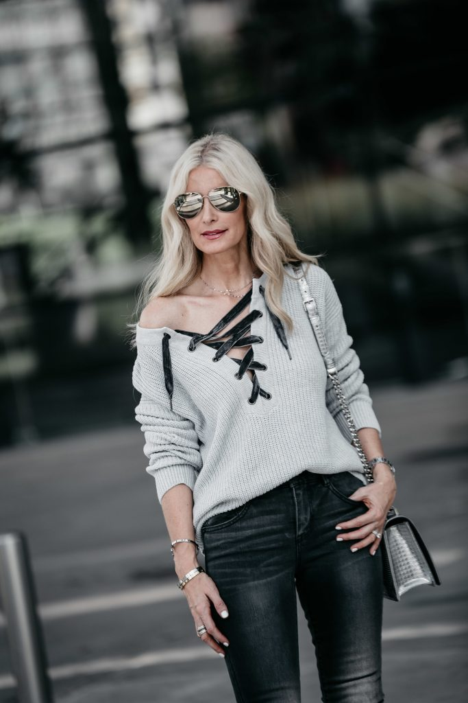 Rails lace up sweater on Dallas blonde girl