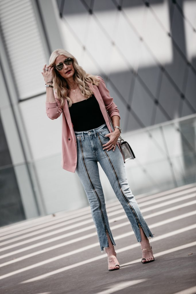 Oversized blazer, Mother denim jeans, and black bodysuit
