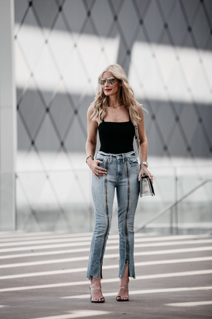 Dallas blogger wearing Reformation bodysuit and Mother jeans