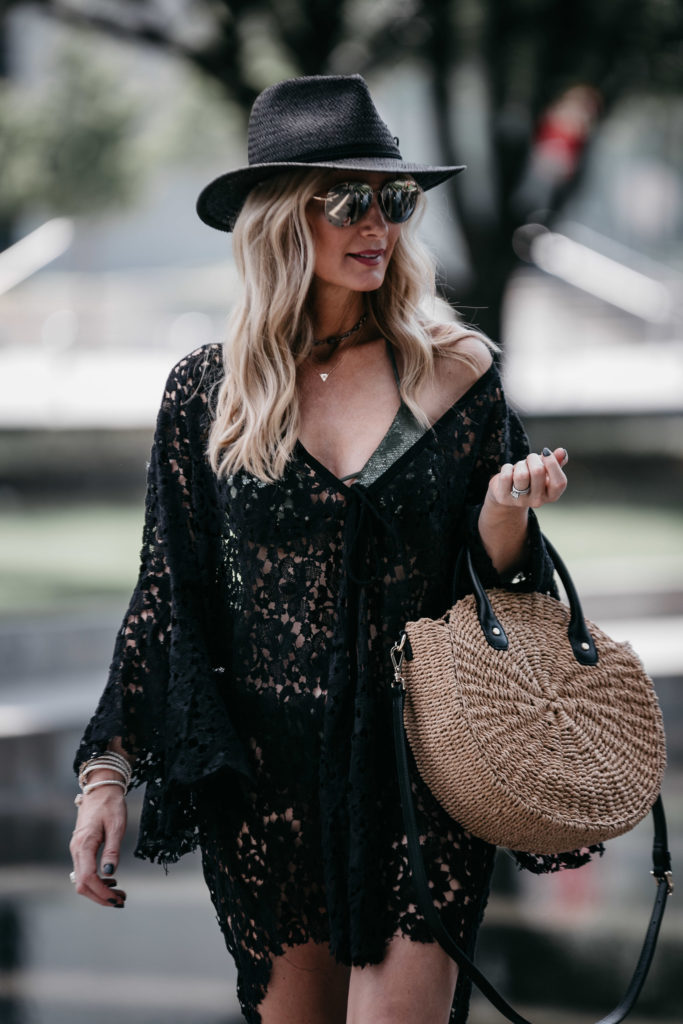 Dallas style blogger wearing rag and bone straw hat