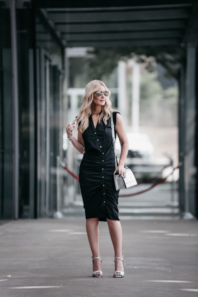 Black Midi Dress and Veronica Beard heels