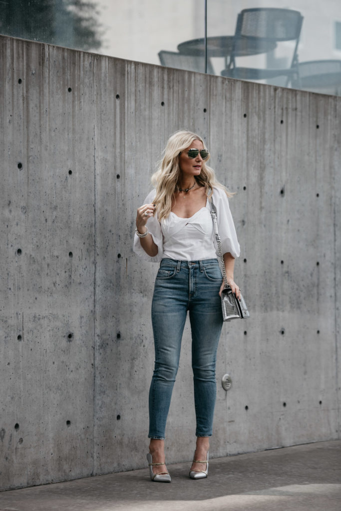 White top, Veronica Beard Jeans and Dior Bag