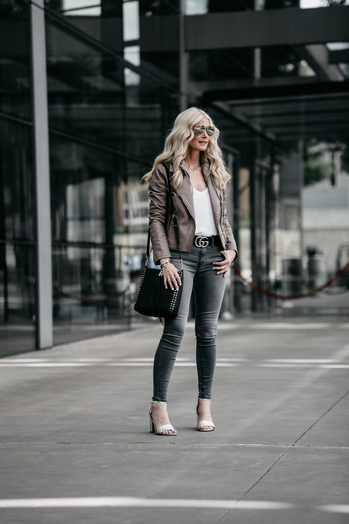 Dallas blogger wearing Blanknyc moto jacket