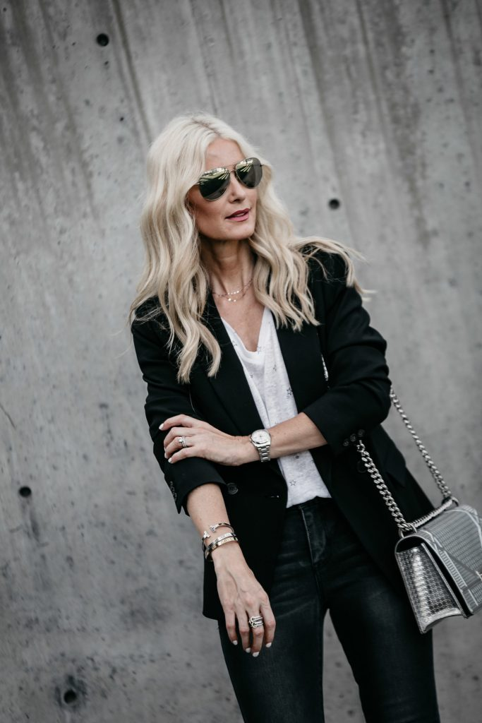 Dallas fashion blogger wearing J Crew black blazer