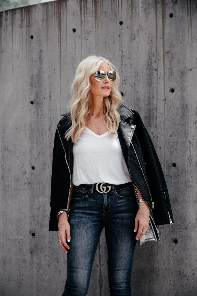 Dallas style blogger wearing white tee and leather jacket