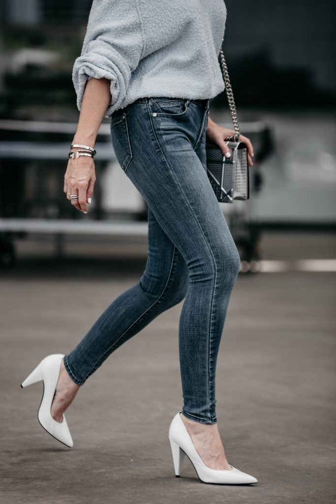 Wit and Wisdom jeans and Marc Fisher white pumps