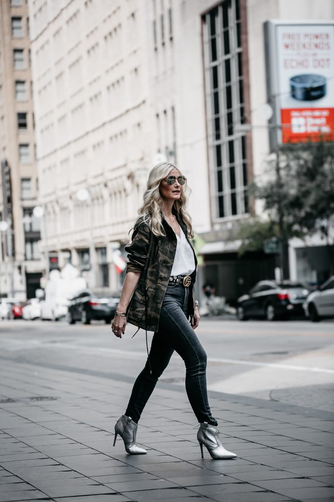 Veronica Beard silver booties, Camo jacket, and gray jeans