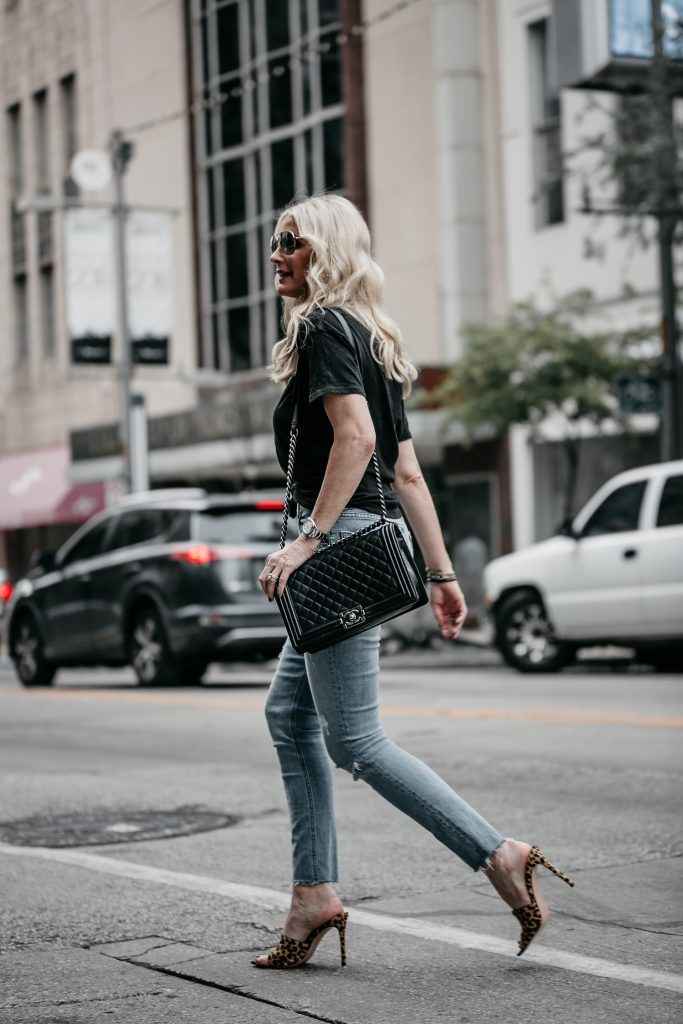 Chanel Boy bag and ripped jeans