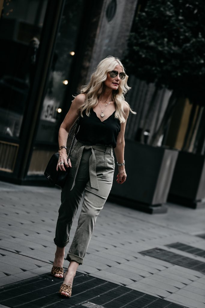 Dallas fashion blogger wearing army pants and black cami