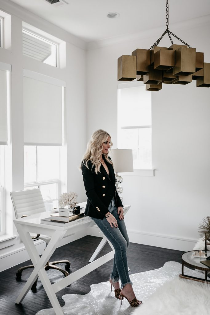 Dallas fashion blogger wearing Balmain Blazer: Home office reveal with Vistaprint