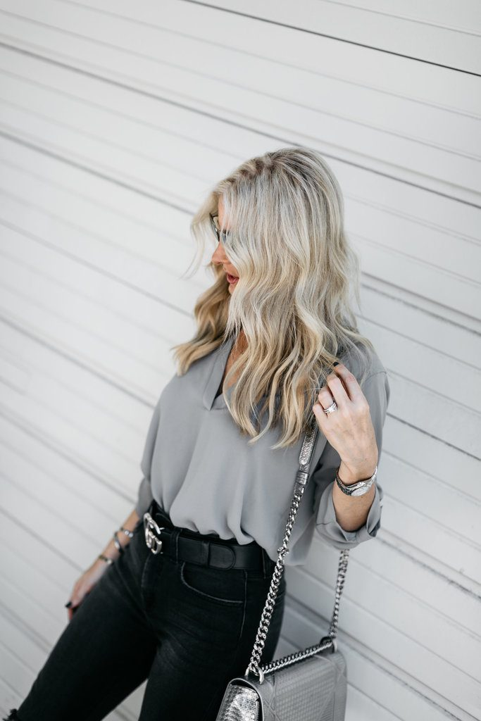 Dallas blonde women wearing Gucci belt and jeans