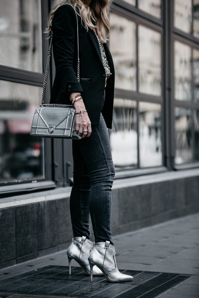 Dior handbag, Veronica Beard blazer and silver booties