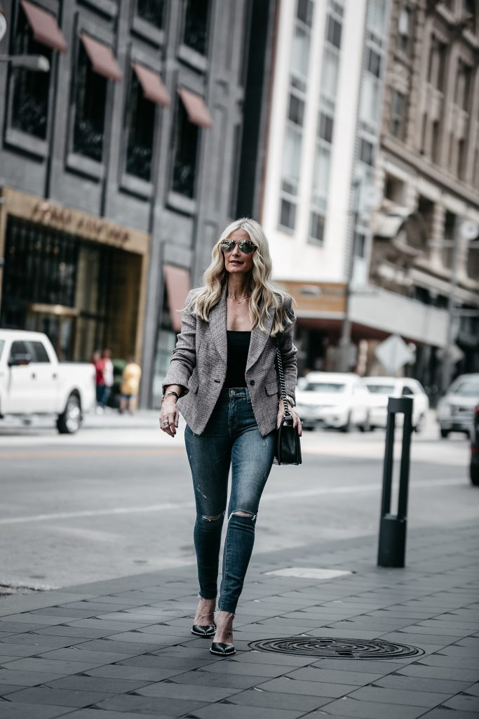 Dallas style blogger wearing Free People blazer