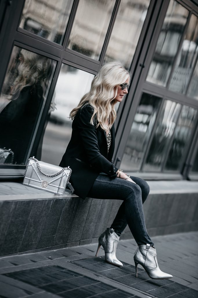 Dallas fashion blogger wearing Veronica Beard blazer and silver booties