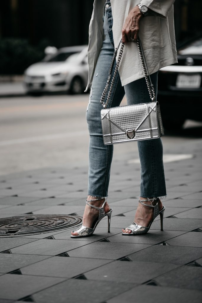 Silver Dior handbag and Veronica Beard Heels