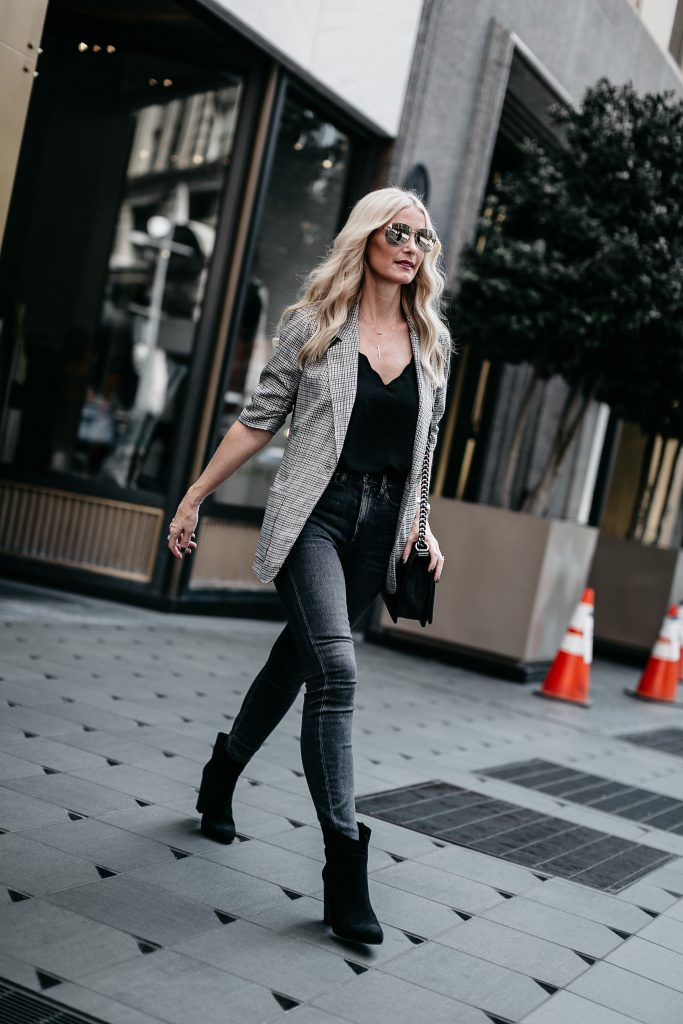 Dallas fashion blogger wearing plaid blazer and black ankle booties