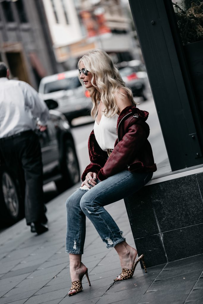 faux shearling moto jacket and leopard heels