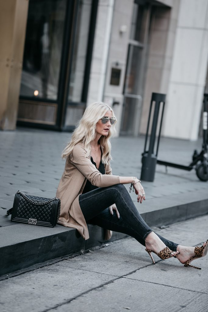How to style a camel cardigan
