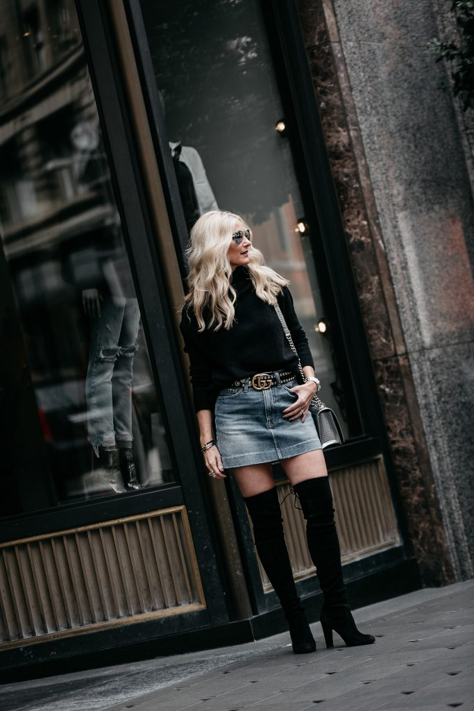 How to style a denim mini skirt