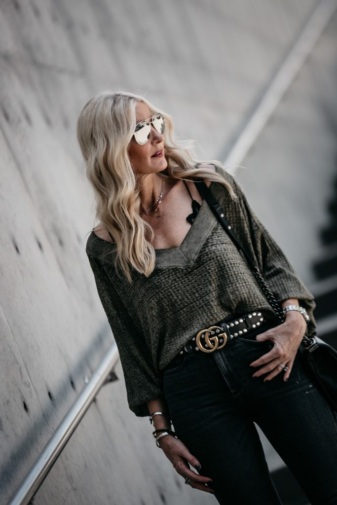 Dallas blogger wearing a Free People top and bralette
