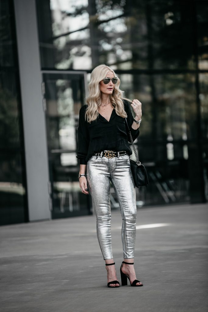 Dallas blonde girl wearing metallic jeans