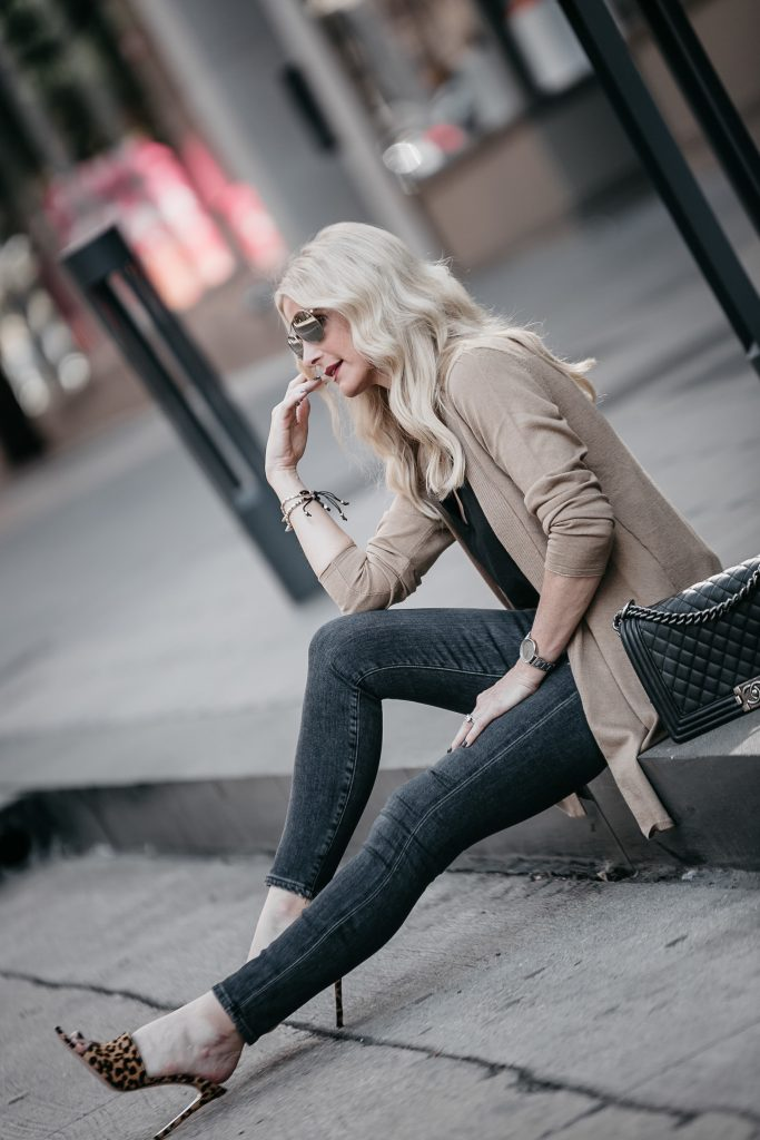 Dallas style blogger wearing leopard heels and J Jill Camel Cardigan