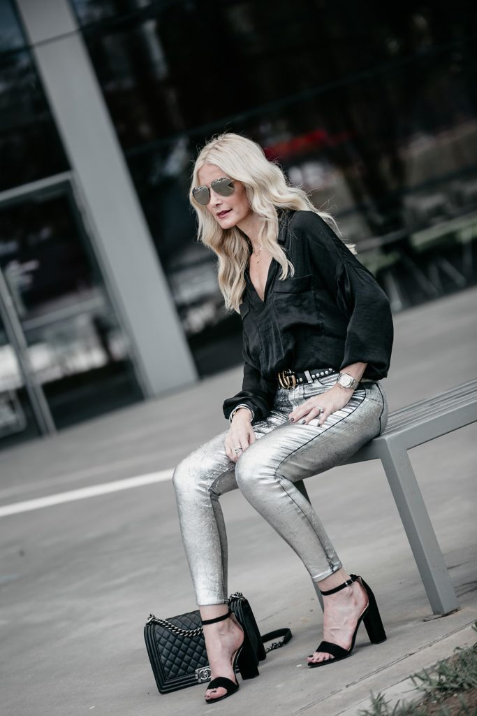 Dallas fashion blogger wearing L'agence silver jeans