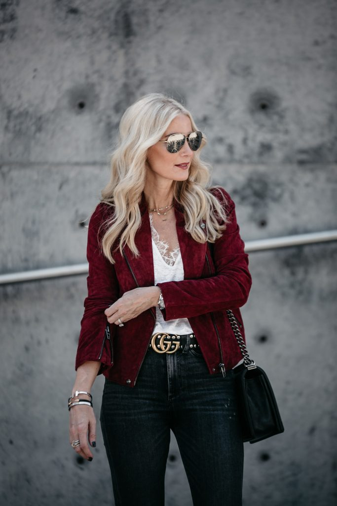 Red Moto Jacket and Gucci belt