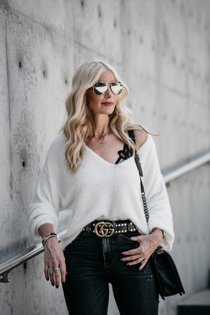 Dallas blogger wearing Free People Sweater