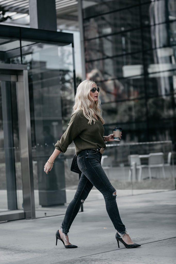 Dallas fashion blogger wearing Sam Edelman studded heels