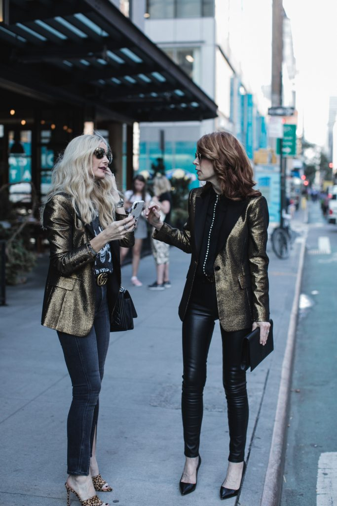 Black and gold blazer by Alice & Olivia