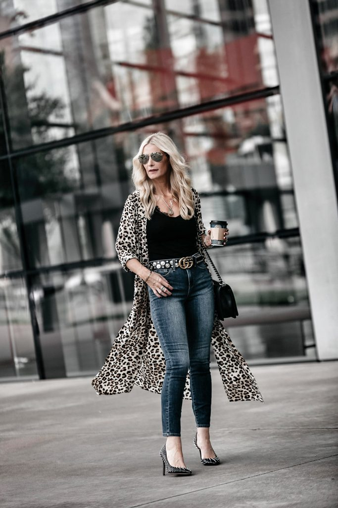 Leopard Duster, Gucci Belt, and NYDJ