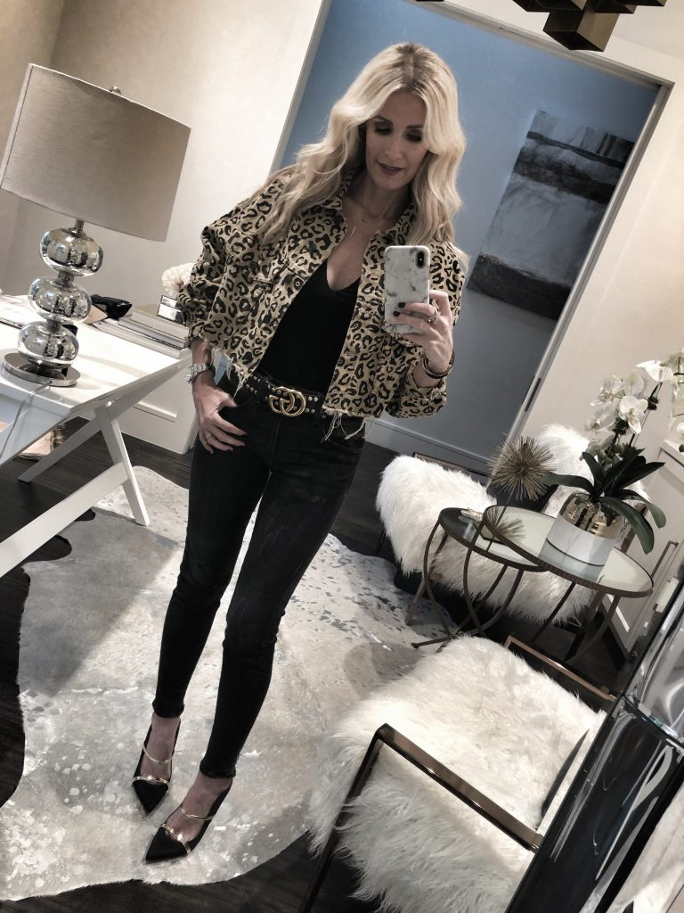 Leopard denim jacket and Gucci Belt