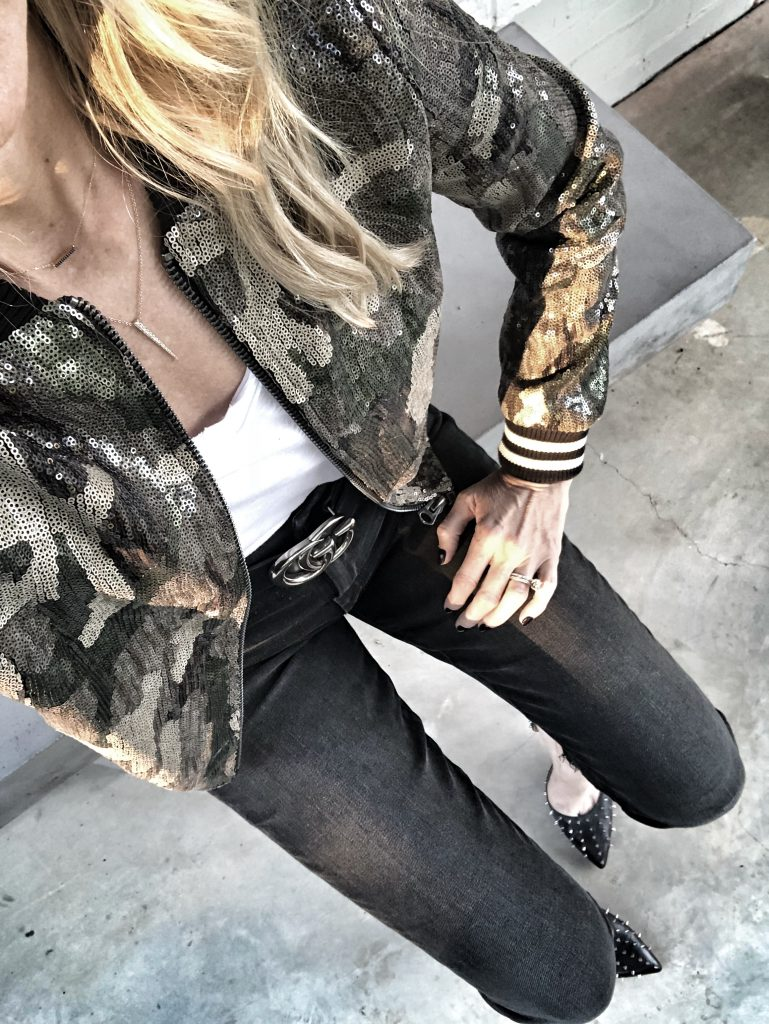 Camo sequin bomber jacket and Gucci belt