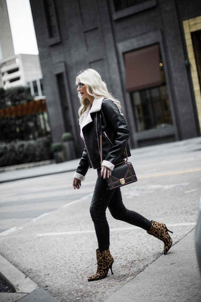 Faux Shearling moto jacket by Blanknyc with Leopard booties